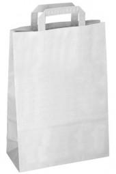 Papiertragetasche weiß mit flachem Henkel