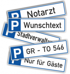 Parkplatzreservierungsschild mit Wunschtext